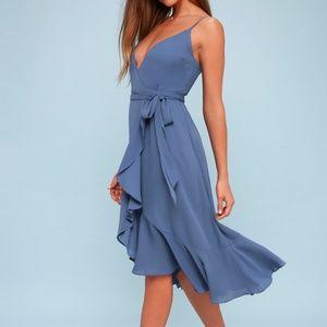 Lulus Manhattan Moment Blue Ruffled Wrap Dress
